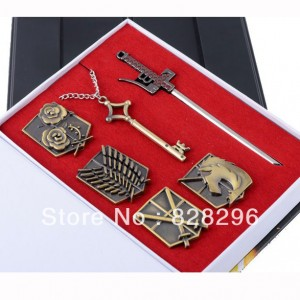 Shingeki-no-Kyojin-Survey-Corps-Badge-Key-Necklace-Set-Cosplay-Props
