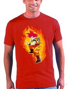 Camiseta dragon ball Gokú dios batalla de los dioses roja